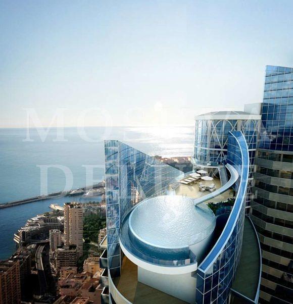 предпентхаусе на вершине башни Одеон Тур в Монако. Одна оценка стоимости этого 5-этажный 35 500 квадратных замок ногой в небе составляет $ 386 000 000. (Любезно Одеон Тур)
