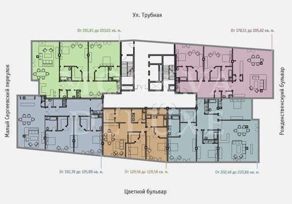 Квартиры и апартаменты в жилом комплексе по адресу: Москва, Цветной бульвар, 2