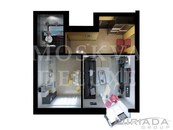 Планировка однокомнатной квартиры в ЖК «Лосиный остров»