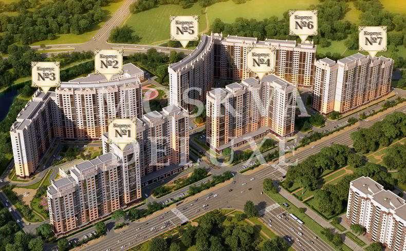 План корпусов жилого комплекса «Мосфильмовский»